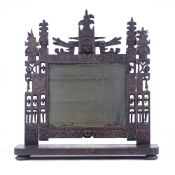 A rare 18th century Welsh Folk Art carved and pierced wood-framed toilet mirror, with dragon