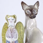 David Sharp, Rye Pottery Angel design candle holder, height 26cm, and a David Sharp, Rye Pottery
