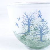 KOSTA BODA - Studio glass bowl with painted landscape and tree designs, engraved signature under