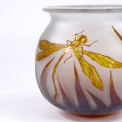 An amber/frosted cameo glass dragonfly design bowl, indistinct signature, rim diameter 14.5cm,