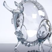 Andrea Tagliapietra (born 1955), Murano clear glass bull sculpture, made for OMG (Original Murano