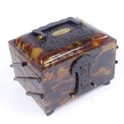 A Chinese early 20th century tortoiseshell cantilever 3-section jewel box, with dragon carved and
