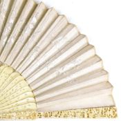 19th century Cantonese ivory fan, fine relief carved ends with pierced and carved sticks, and dragon