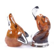 A pair of Royale Stratford China, fox and hound head design stirrup cups, length 13cm Perfect