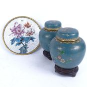 A pair of Chinese cloisonne enamel brass ginger jars and covers, and a similar plate, plate diameter