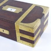 A 19th century brass-bound mahogany campaign style box, military style sunken handle with GR