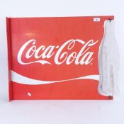A large Vintage red and white Coca-Cola advertising sign, with swivel bottle mount, 53cm x 65cm