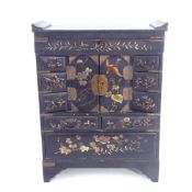 A Japanese gilded black lacquer kodansu table-top cabinet, Meiji Period, with hinged lid, brass-
