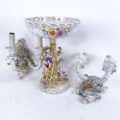 A German Porcelain Manufactory Plaue (PMP) porcelain table centre comport, and a pair of
