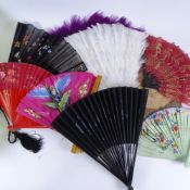Large quantity of various Antique and Vintage hand fans and face screens, including brightly