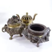 3 Chinese bronze censer, comprising a polished bronze censor with pierced cover, height 15cm, a cast