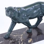 Louis-Albert Carvin (French 1860 - 1951), a green patinated bronze prowling panther, on original