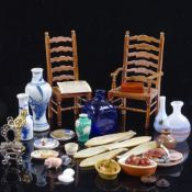 A collection of miniature doll's house ornaments, furniture, ceramics, chairs etc Most items in good
