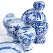 A group of 18th century Delft Pottery, including a double-gourd vase, height 29cm All pieces have