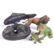 A group of cold painted and patinated bronze animals, plus 1 cold painted metal miniature frog, fish