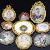 A collection of miniature painted portraits, mainly late 19th/early 20th century, including
