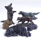 A group of patinated bronze dogs, including P J Mene bronze Pointer dog on naturalistic base, length