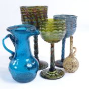 5 pieces of Venetian handmade latticino glass, largest goblet height 11cm, including a miniature