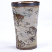 MARTIN BROTHERS - salt glaze stoneware beaker with hand painted and incised caricature fish and