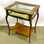 A late Victorian rectangular mahogany vitrine table, with inlaid marquetry, glazed panels and