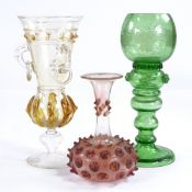 A 19th century Continental coloured glass vase with glass ring handles, height 19cm, an engraved