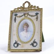 A miniature watercolour portrait on ivory, inscribed on reverse Miss Jeanie Boyle Glasgow by Ethel A