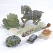 A group of Chinese jade and hardstone carvings, including a relief carved jade rui sceptre, length