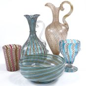 5 pieces of Venetian latticino glass, late 19th or early 20th century, tallest gilded glass ewer