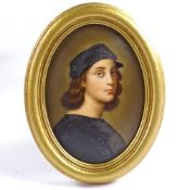 A 19th century hand painted porcelain plaque, portrait of Raphael, unsigned, in oval giltwood frame,