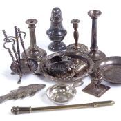A collection of miniature doll's house silver and plated items, including a fire companion set on