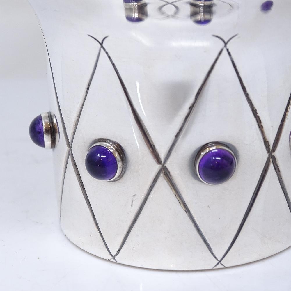 Lot 15 - A large Tage Gothlin for Tesi of Goteborg Swedish silver modernist vase / bowl, pedestal foot set