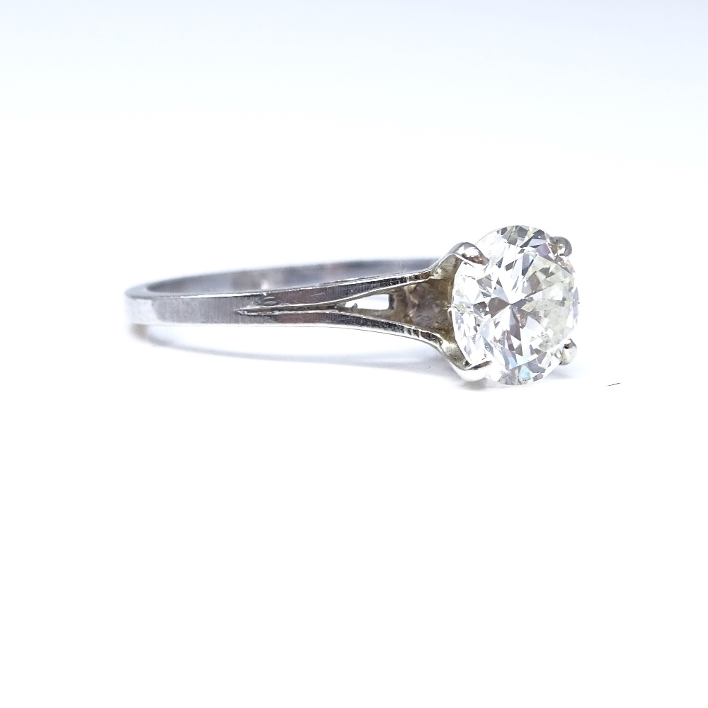 Lot 92 - A 14ct white gold 1.6ct solitaire diamond ring, high 4-claw setting, diamond weighs approx 1.6ct,