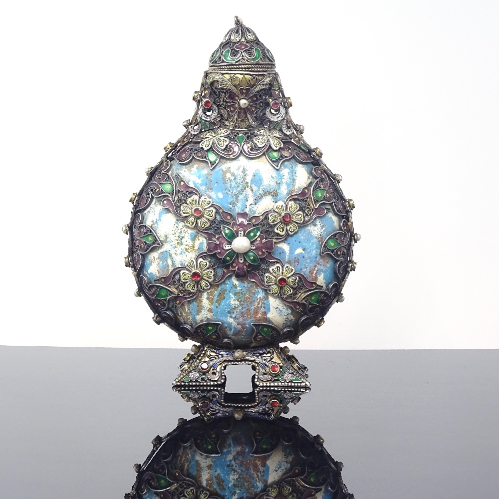 Lot 26 - A 19th century Austro-Hungarian enamelled silver-mounted ceramic gem-set moon flask scent bottle,