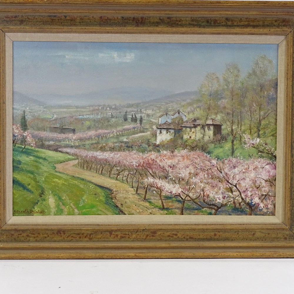 """Lot 32 - Kenneth Denton (b.1932) oil on board, """"Spring in the Ardeche"""" signed, 15"""" x 23"""", framed Excellent"""