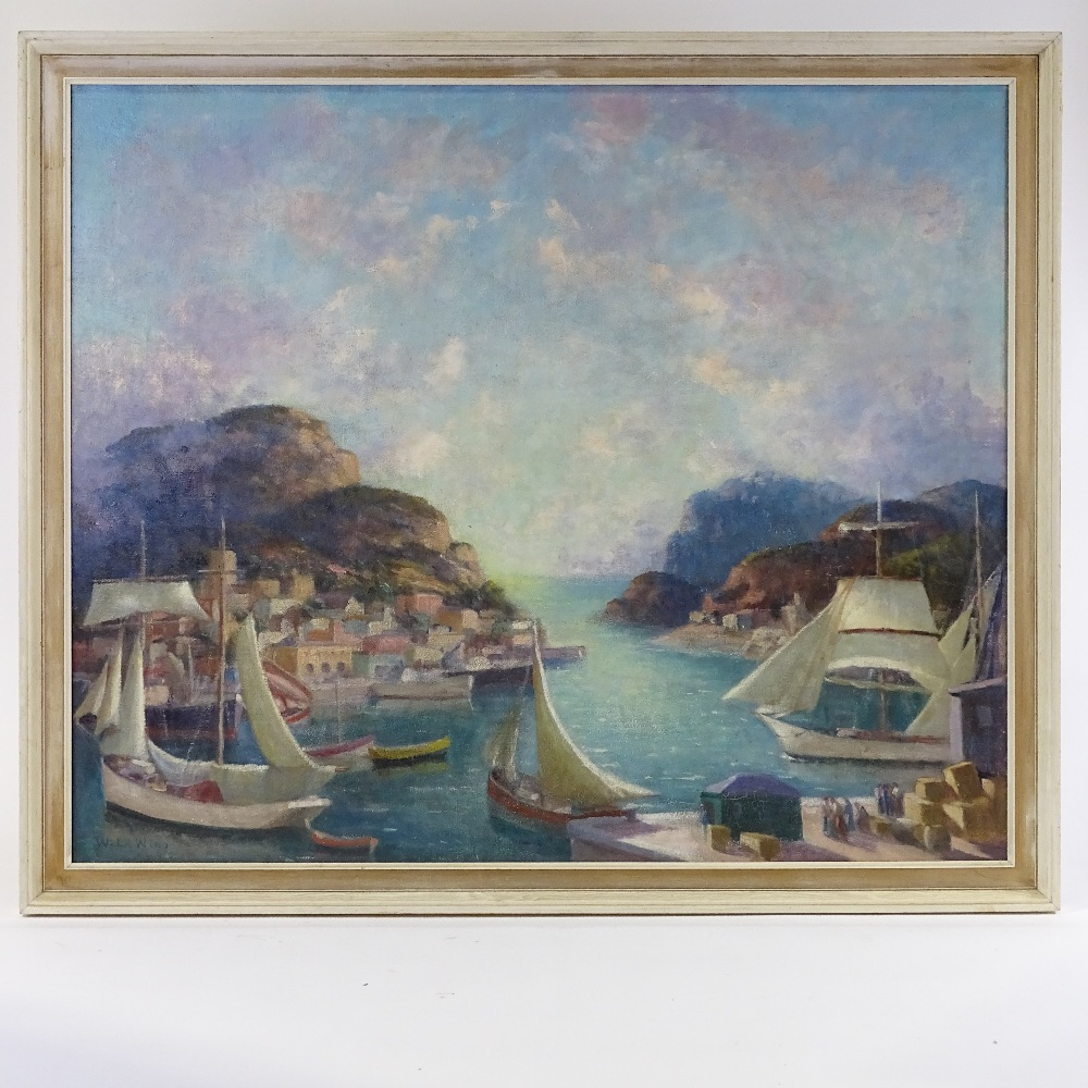 Lot 48 - Walter Affroville Le Wino (1887-1959), oil on canvas, extensive French/Corsican harbour scene,