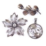 NIELS ERIK FROM - 2 Vintage Danish sterling silver stylised floral brooches and a silver pendant,
