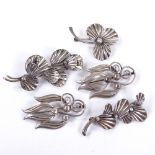 HERMANN SIERSBOL - 5 Vintage Danish modernist stylised silver floral brooches, maker's marks HS,