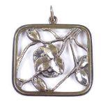FRANTZ HINGELBERG - a large Vintage Danish vermeil sterling silver stylised floral pendant,