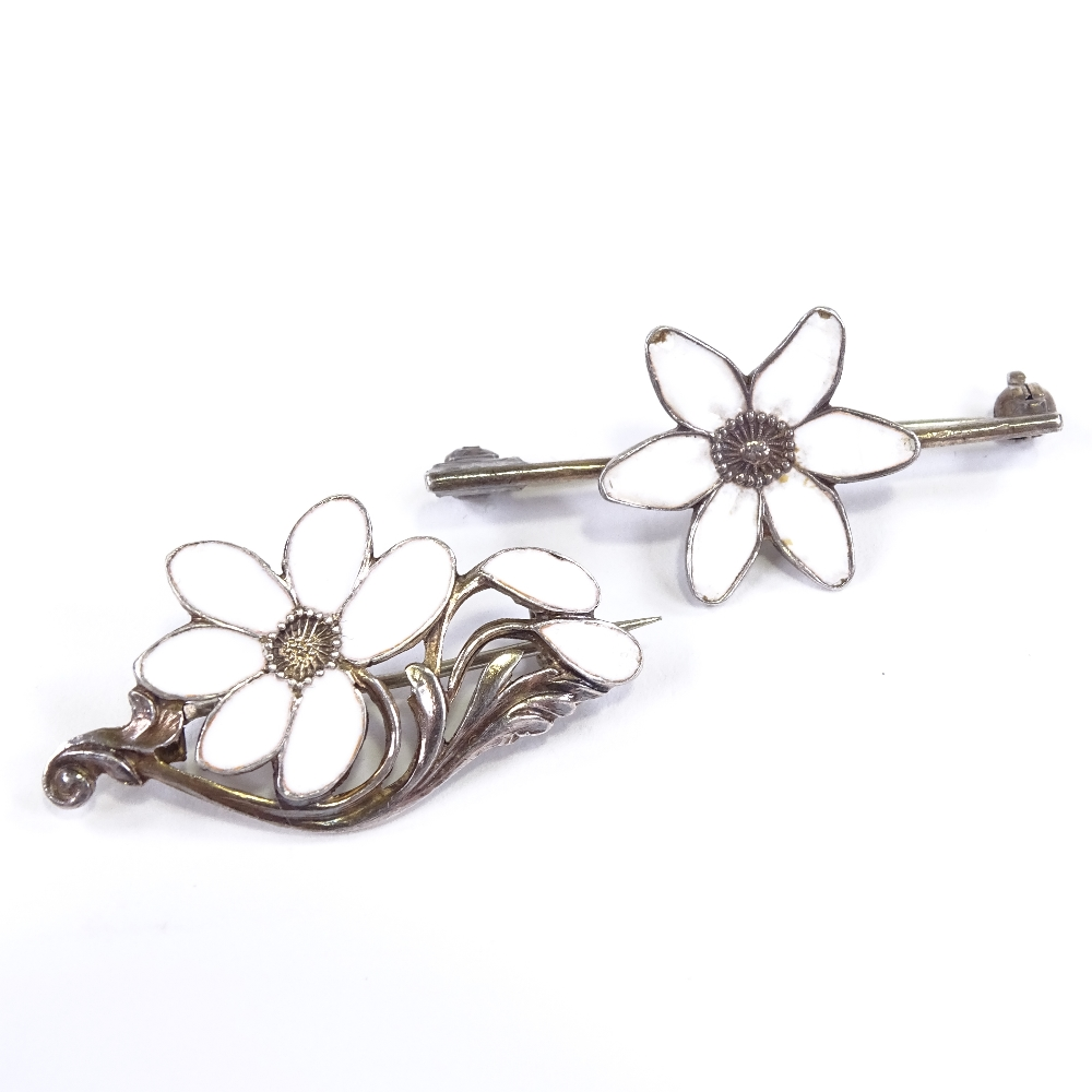 A DRAGSTED - 2 Vintage Danish vermeil sterling silver and white enamel floral brooches, maker's