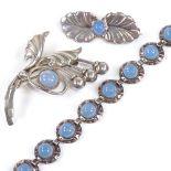 HERMANN SIERSBOL - a Vintage Danish sterling silver and cabochon blue moonstone matching bracelet