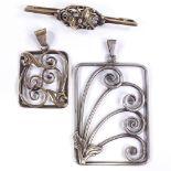 BERNHARD HERTZ - a large Vintage Danish stylised silver openwork scroll pendant, KURT C HERMANN
