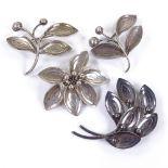 AARRE & KROGH - 4 Vintage Danish sterling silver stylised modernist floral brooches, maker's marks