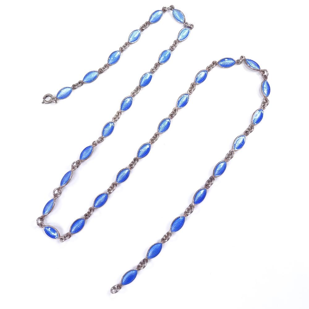 Lot 6 - VOLMER BAHNER - a Vintage Danish sterling silver and blue enamel necklace, marquise enamelled