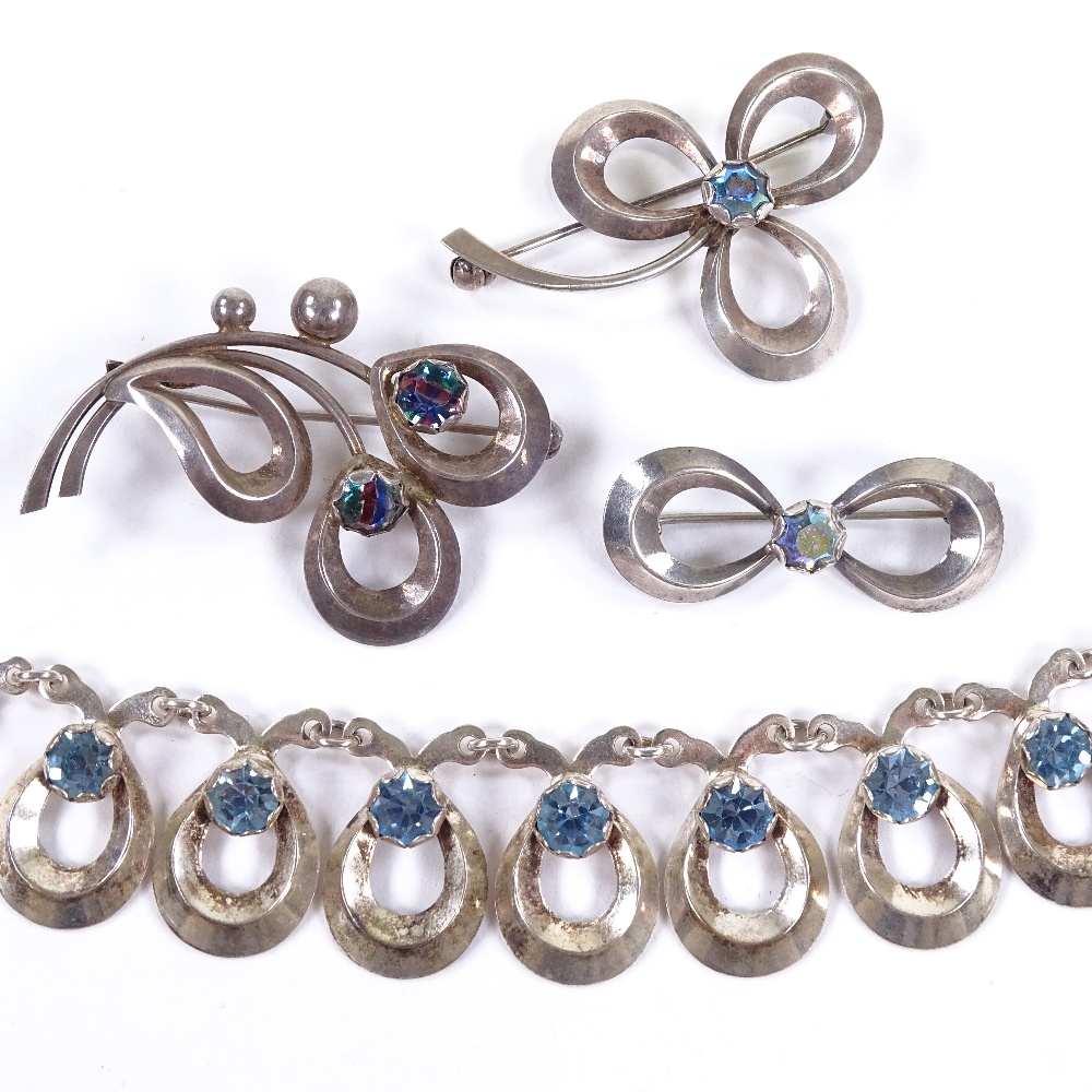 Lot 28 - HERMANN SIERSBOL - a Vintage Danish sterling silver and blue stone demi-parure, comprising 1