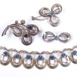HERMANN SIERSBOL - a Vintage Danish sterling silver and blue stone demi-parure, comprising 1