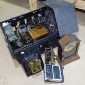 A Black Forest cuckoo clock case, spelter clock case, brass schiller carriage clock, various clock