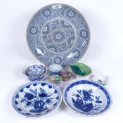 A quantity of Oriental ceramics, including blue and white dish, small mottled green glaze dish, blue
