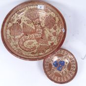 A 17th century Hispano-Moresque Spanish copper lustre faience bowl, phoenix decoration, and a