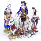A group of 19th century Continental hand painted porcelain figures, all marked, largest height