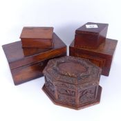 Various boxes and containers, including octagonal oak example, rosewood tea caddy etc (5)
